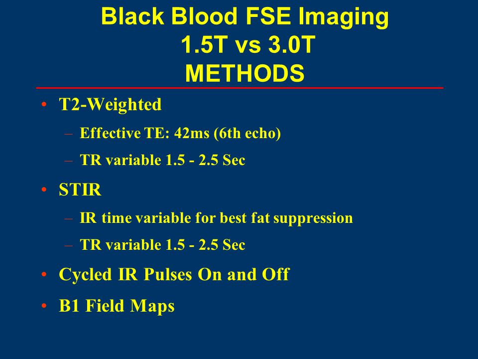 Black Blood FSE Imaging 1.5T vs 3.0T METHODS