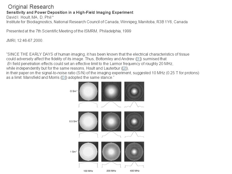 Original Research Sensitivity and Power Deposition in a High-Field Imaging Experiment. David I. Hoult, MA, D, Phil *