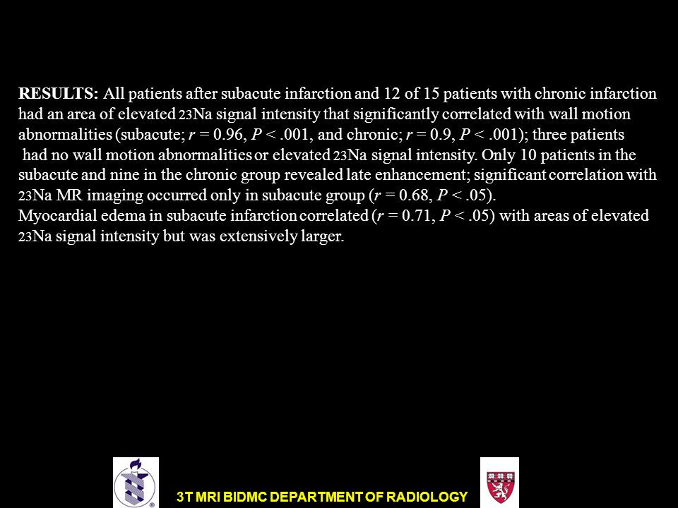 RESULTS: All patients after subacute infarction and 12 of 15 patients with chronic infarction