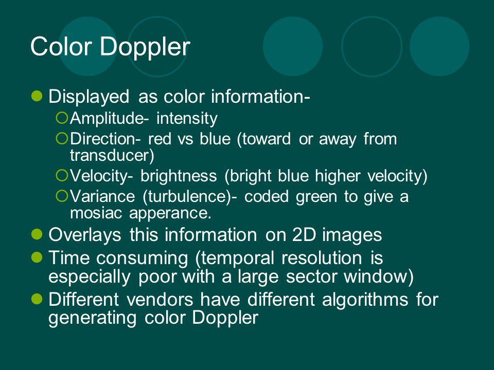 Color Doppler Displayed as color information-