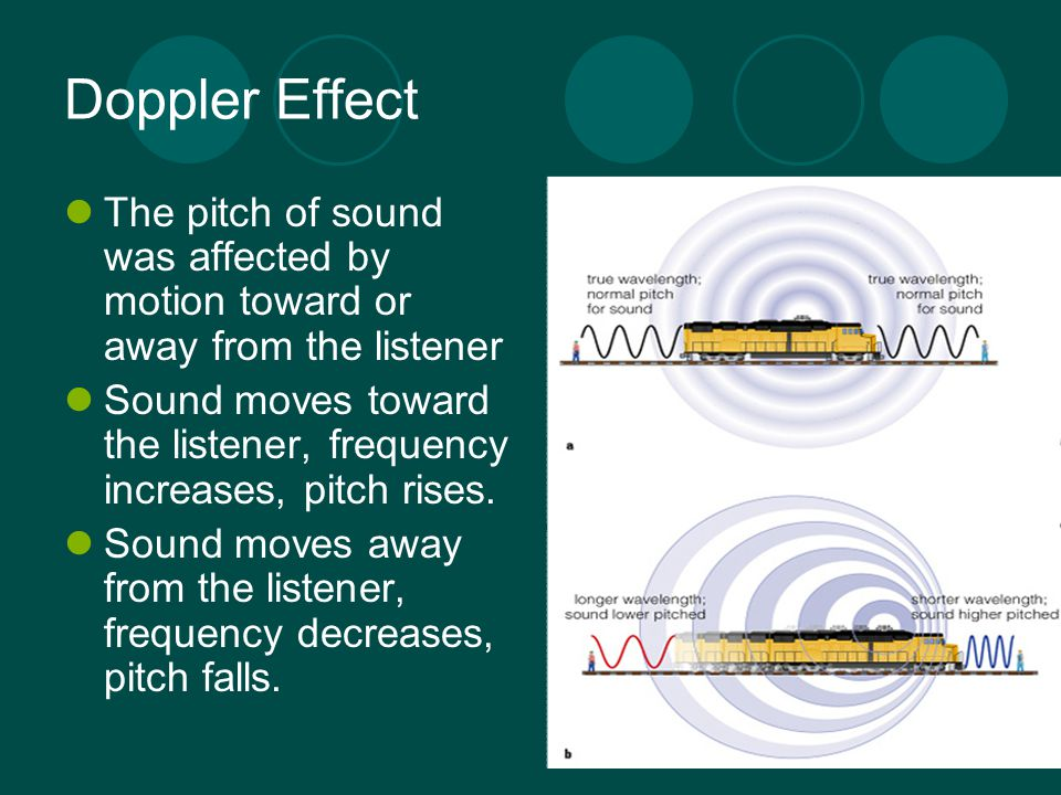 Doppler Effect The pitch of sound was affected by motion toward or away from the listener.