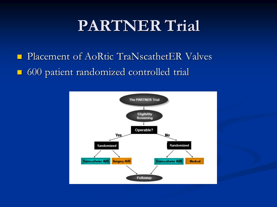 PARTNER Trial Placement of AoRtic TraNscathetER Valves
