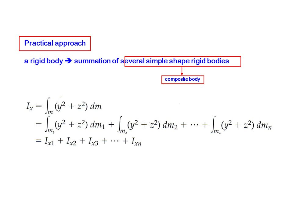 a rigid body  summation of several simple shape rigid bodies