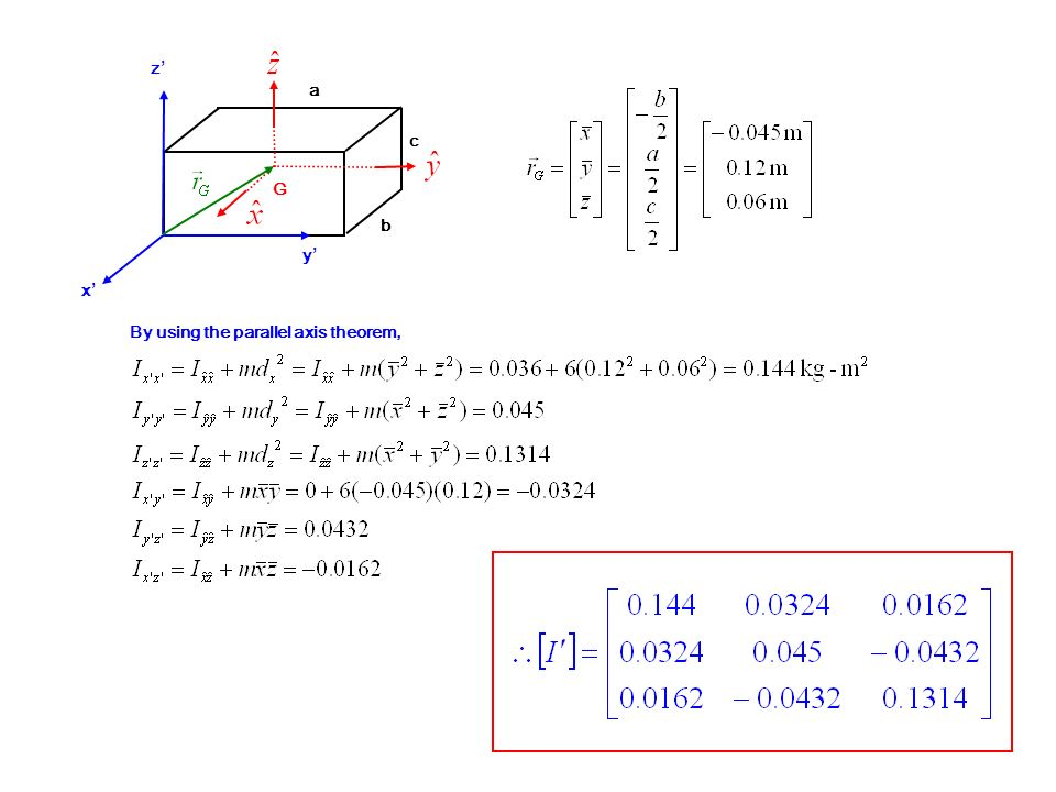 z' a c G b y' x' By using the parallel axis theorem,