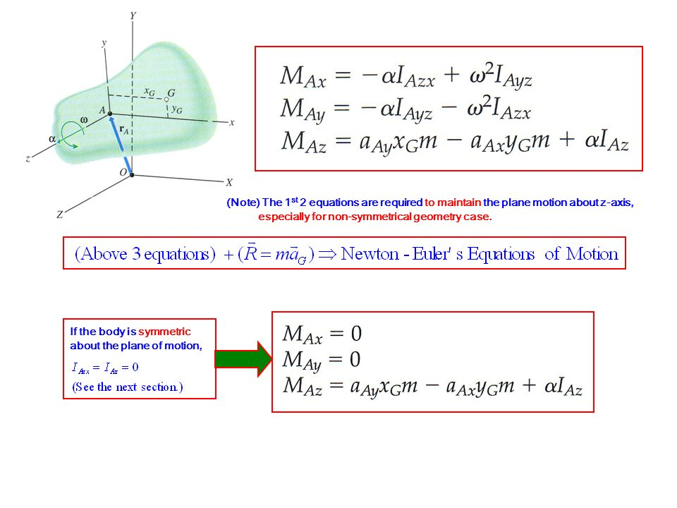 (Note) The 1st 2 equations are required to maintain the plane motion about z-axis,