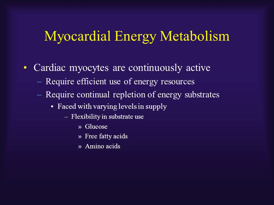 Myocardial Energy Metabolism