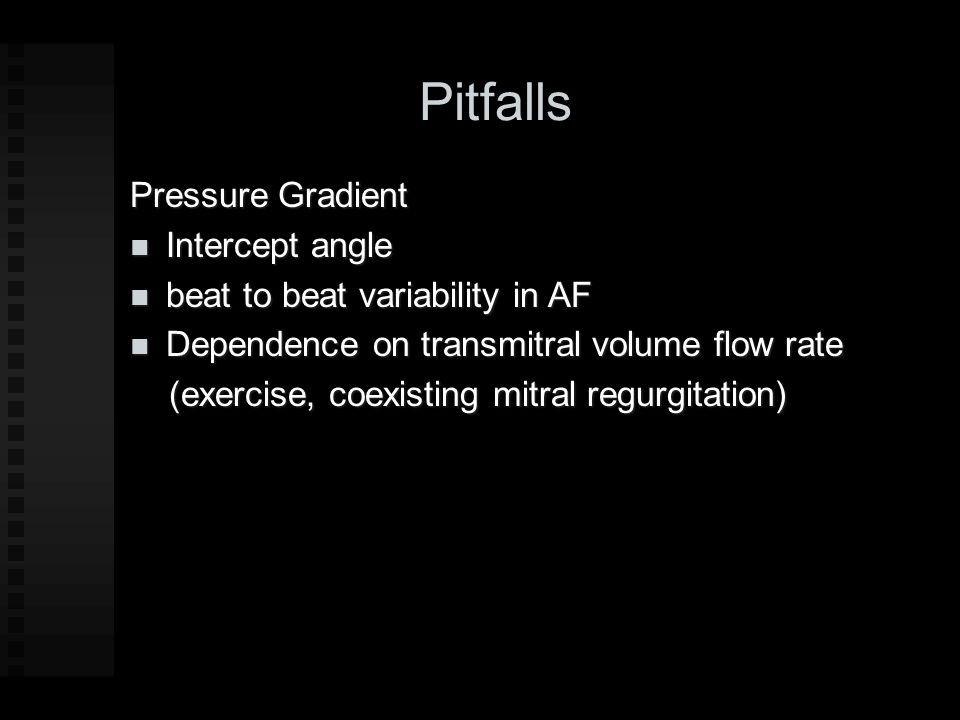 Pitfalls Pressure Gradient Intercept angle