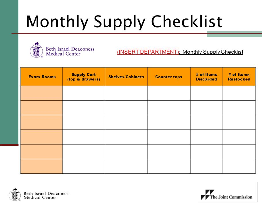 Monthly Supply Checklist