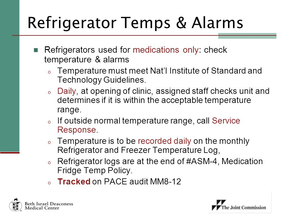 Refrigerator Temps & Alarms