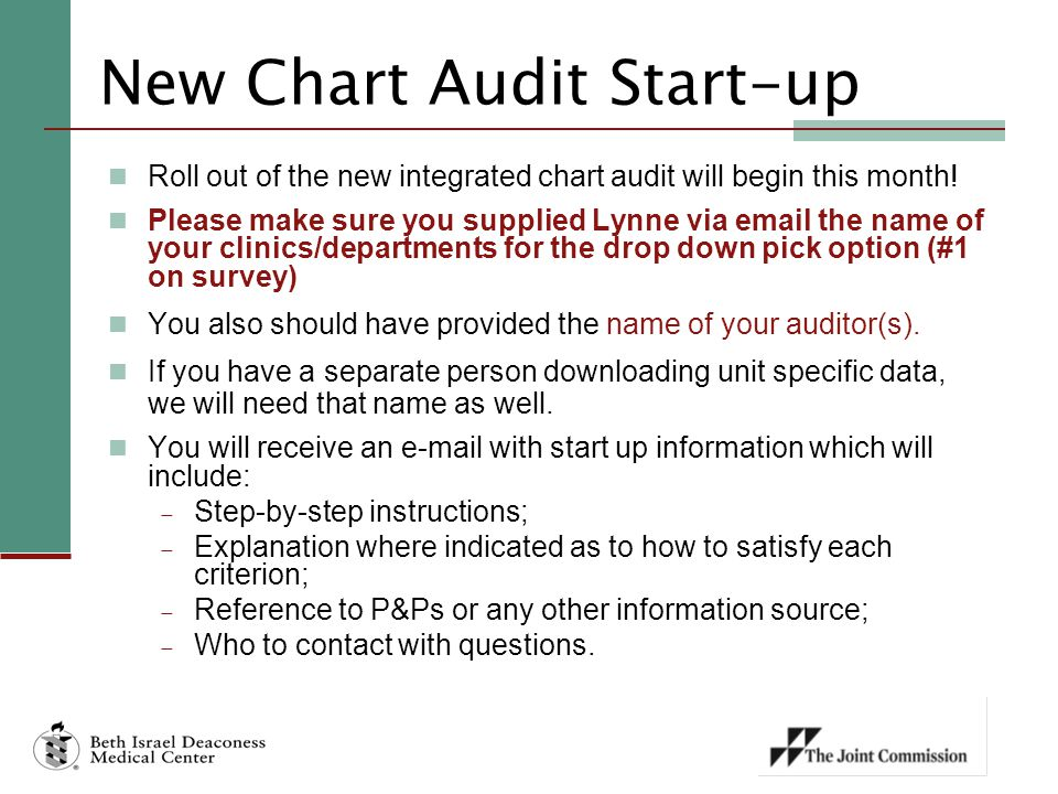 New Chart Audit Start-up