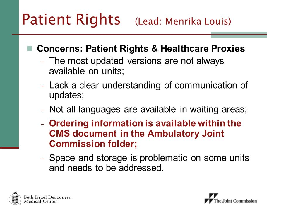 Patient Rights (Lead: Menrika Louis)