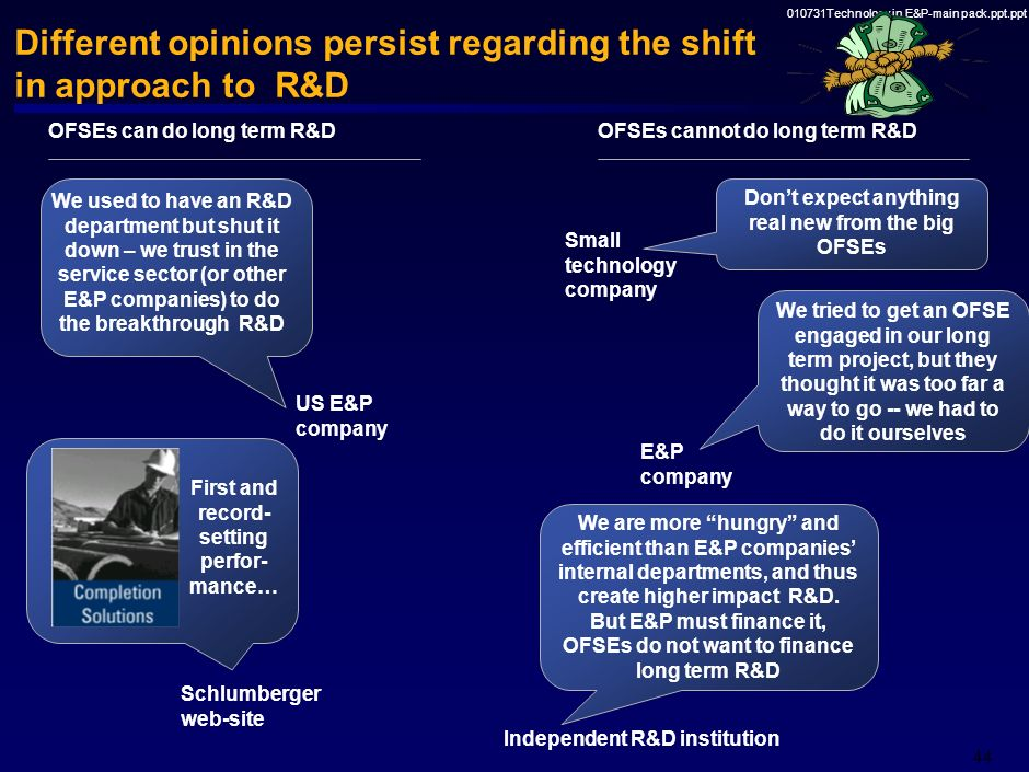 Different opinions persist regarding the shift in approach to R&D