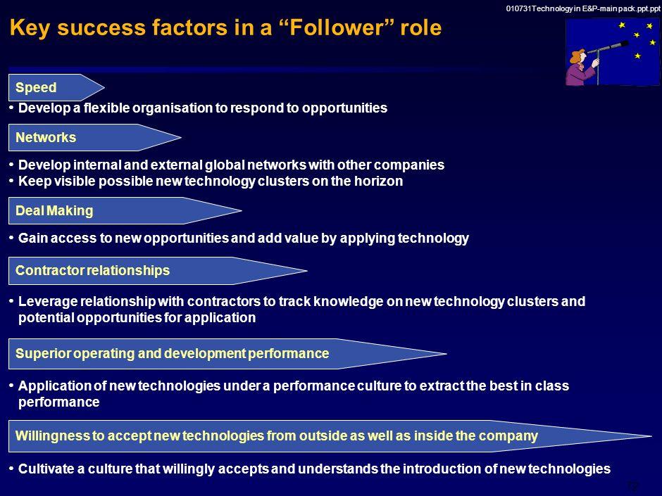 Key success factors in a Follower role