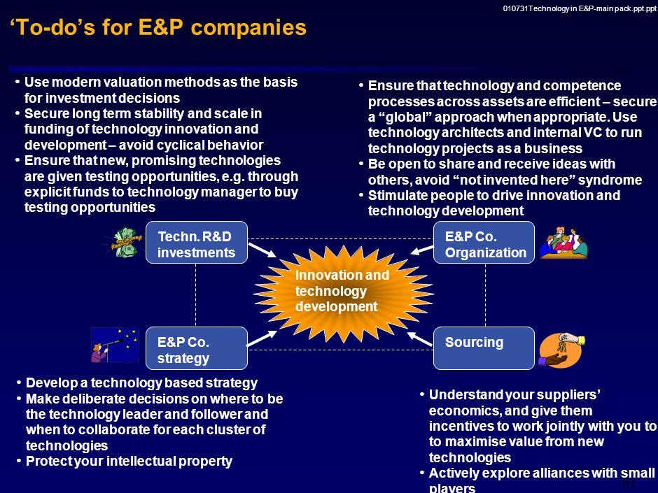 'To-do's for E&P companies