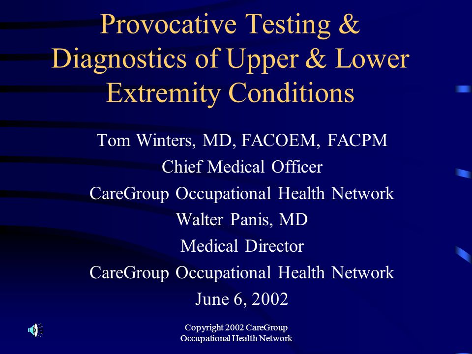 Provocative Testing & Diagnostics of Upper & Lower Extremity Conditions