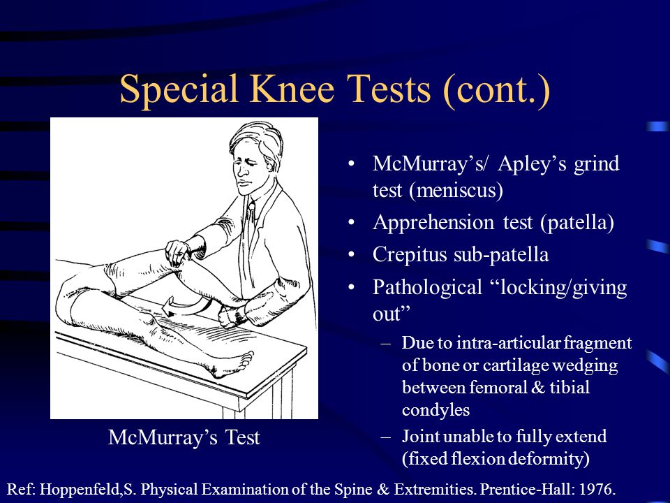 Special Knee Tests (cont.)