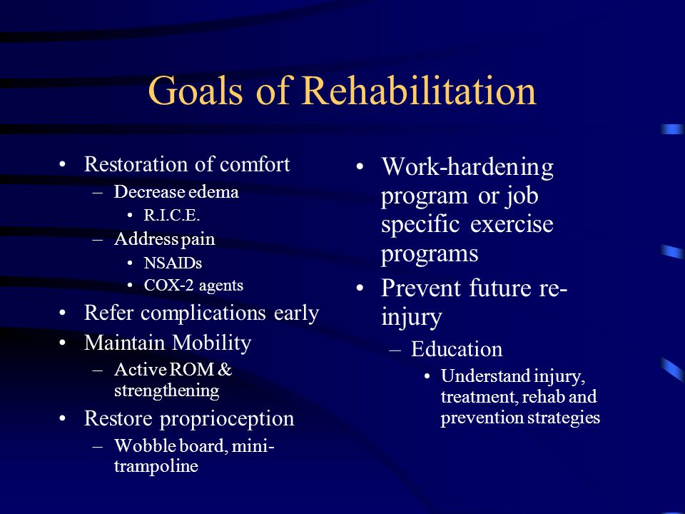 Goals of Rehabilitation