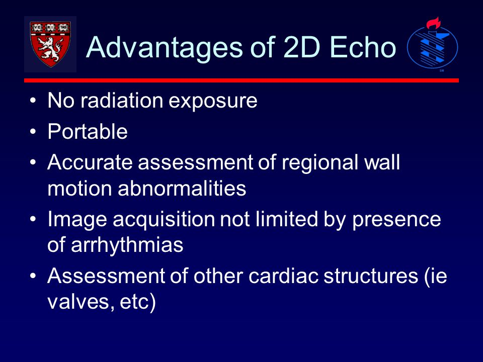Advantages of 2D Echo No radiation exposure Portable