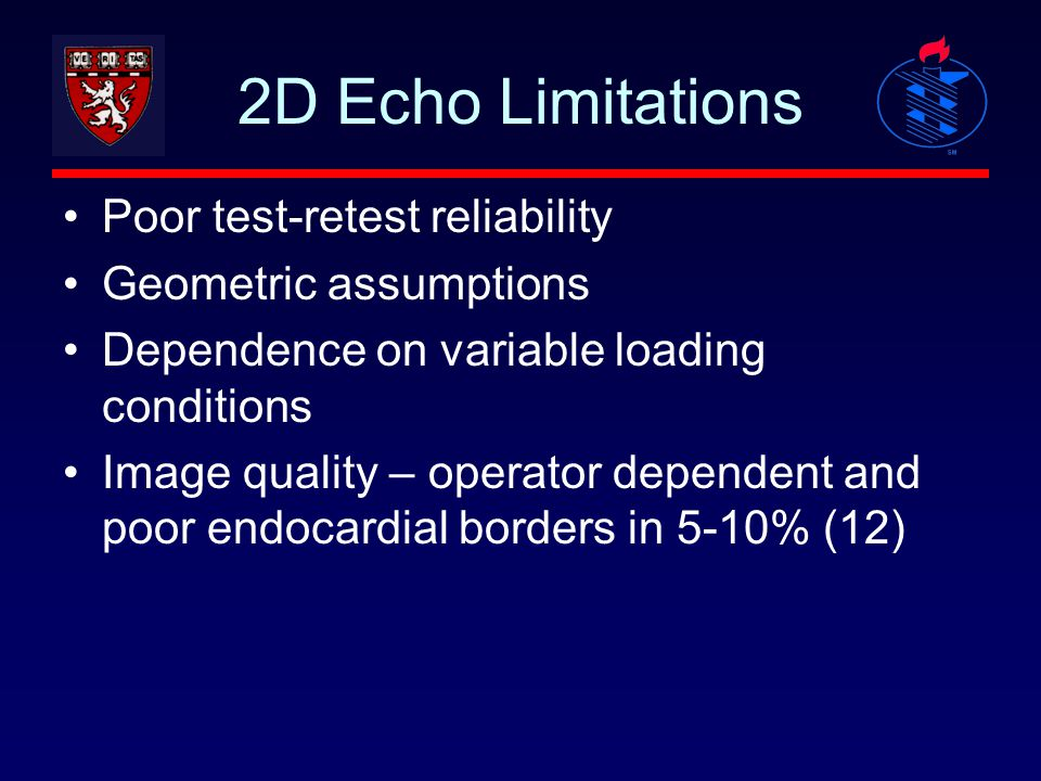 2D Echo Limitations Poor test-retest reliability Geometric assumptions