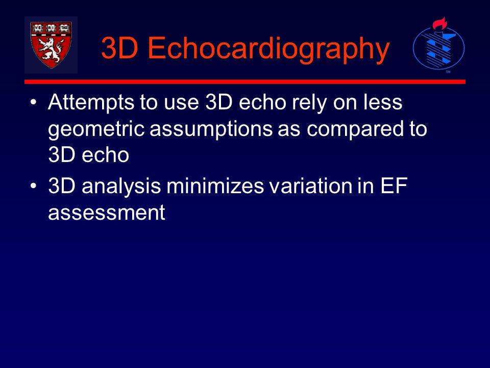 3D Echocardiography Attempts to use 3D echo rely on less geometric assumptions as compared to 3D echo.