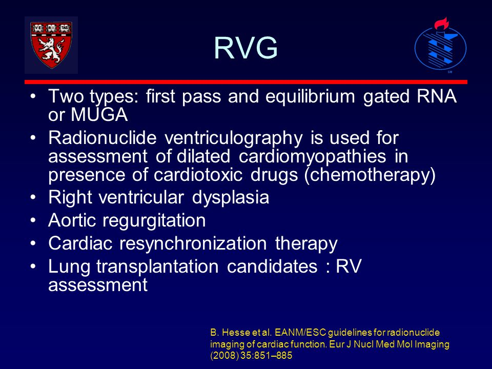 RVG Two types: first pass and equilibrium gated RNA or MUGA