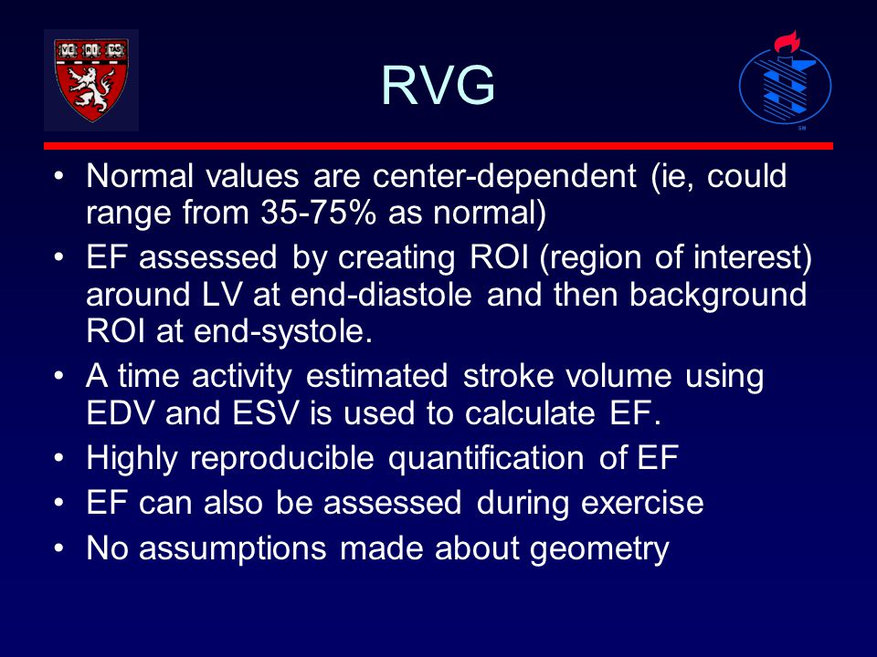 RVG Normal values are center-dependent (ie, could range from 35-75% as normal)
