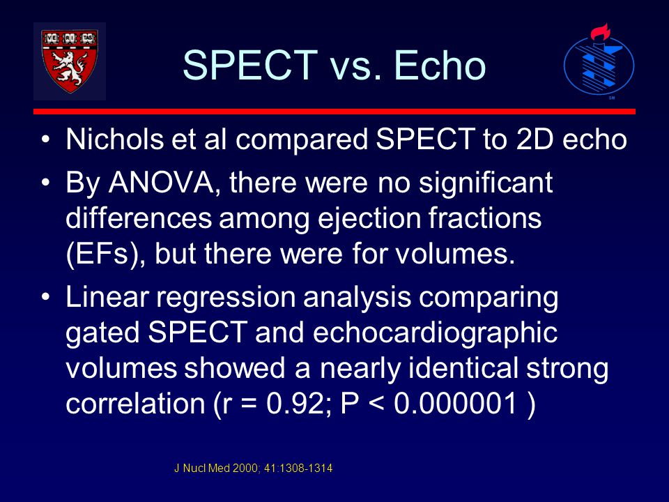 SPECT vs. Echo Nichols et al compared SPECT to 2D echo