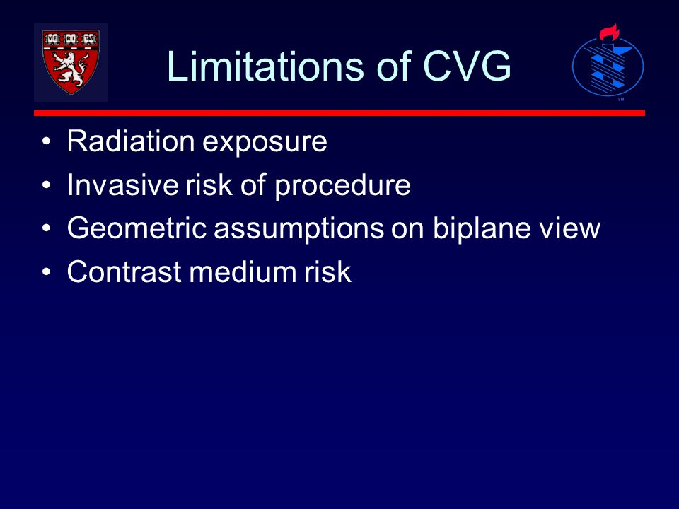 Limitations of CVG Radiation exposure Invasive risk of procedure