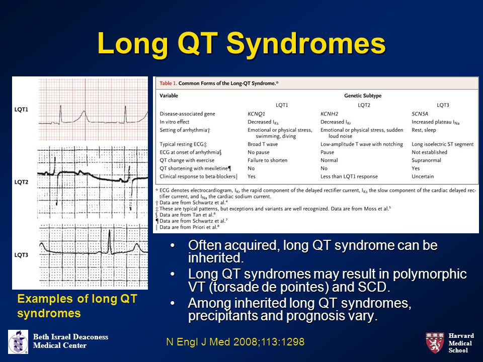 Long QT Syndromes Often acquired, long QT syndrome can be inherited.