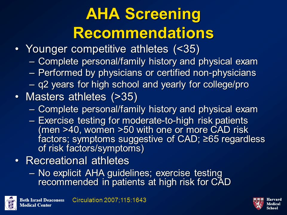 AHA Screening Recommendations