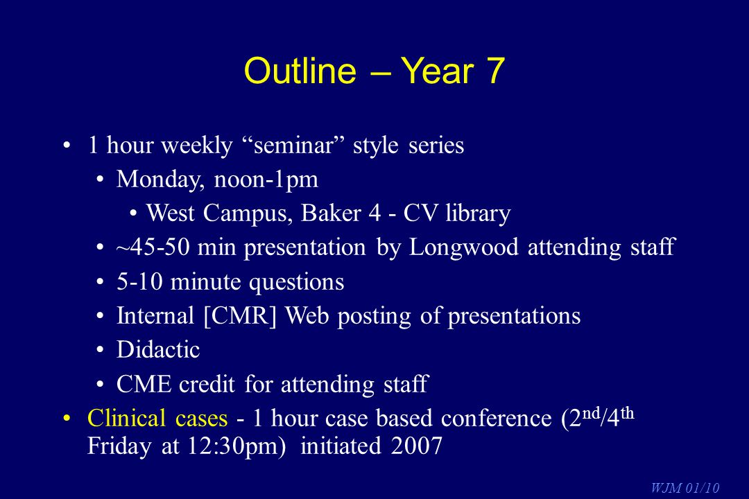Outline – Year 7 1 hour weekly seminar style series Monday, noon-1pm