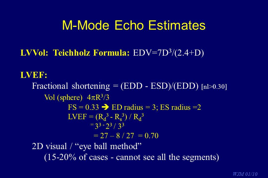 M-Mode Echo Estimates LVVol: Teichholz Formula: EDV=7D3/(2.4+D) LVEF: