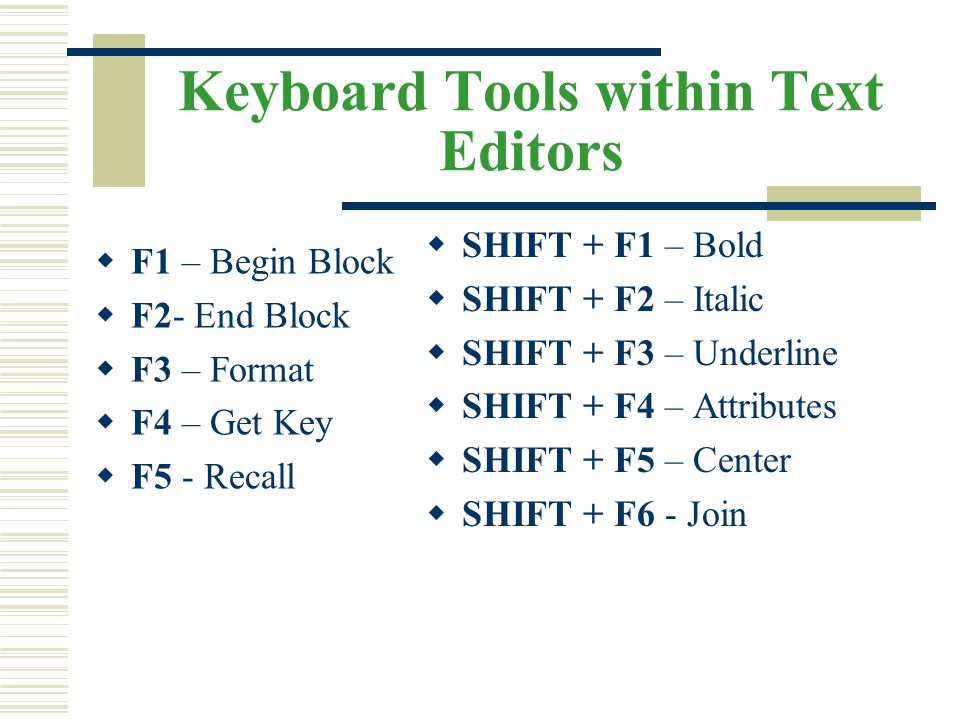 Keyboard Tools within Text Editors