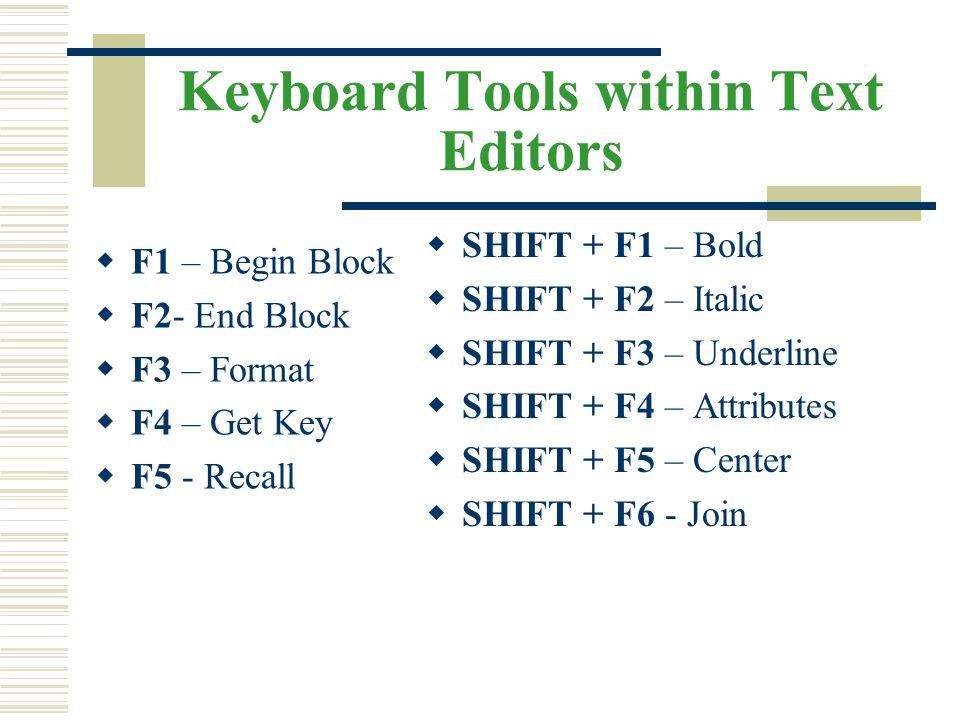 Keyboard Tools within Text Editors