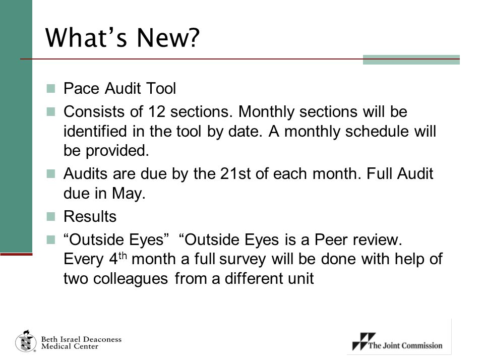 What's New Pace Audit Tool