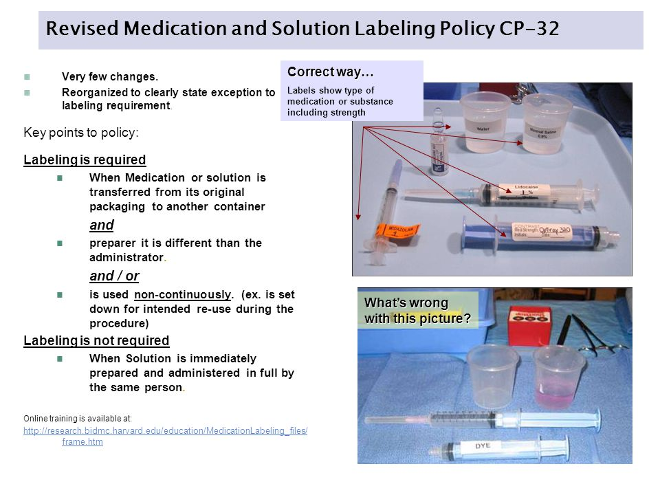 Revised Medication and Solution Labeling Policy CP-32