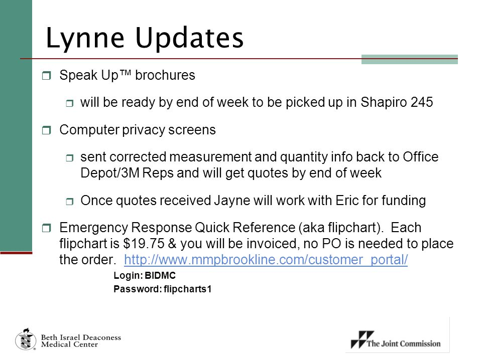 Lynne Updates Speak Up™ brochures