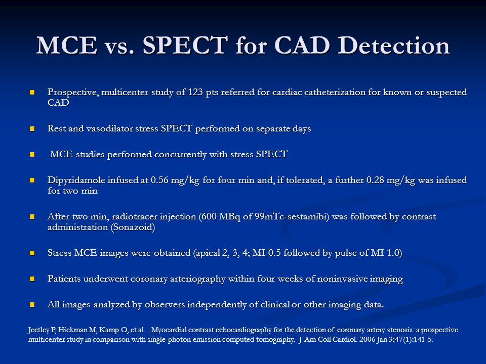 MCE vs. SPECT for CAD Detection