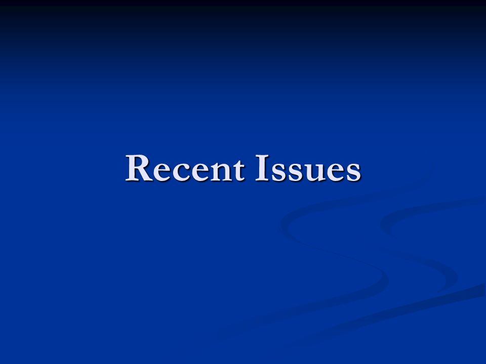 Recent Issues