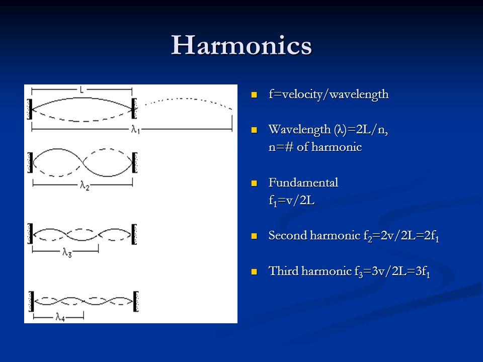 Harmonics f=velocity/wavelength Wavelength (λ)=2L/n, n=# of harmonic