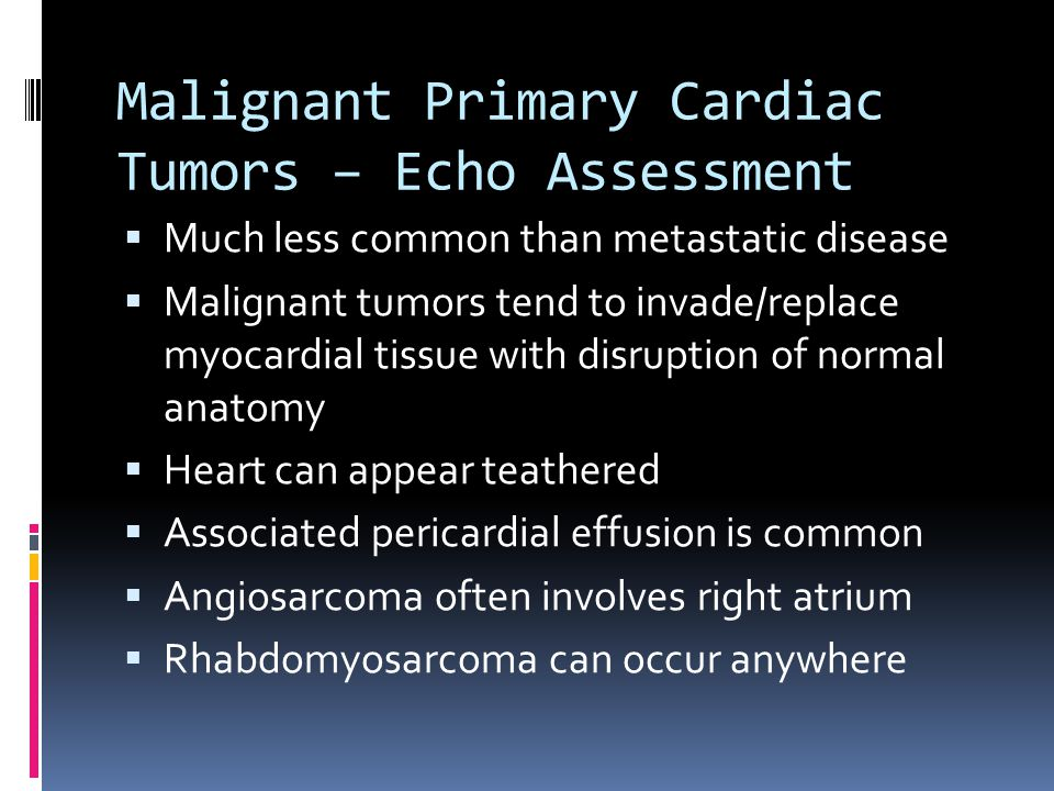 Malignant Primary Cardiac Tumors – Echo Assessment