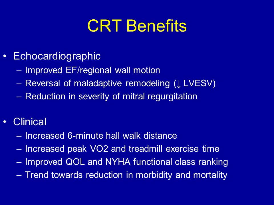 CRT Benefits Echocardiographic Clinical