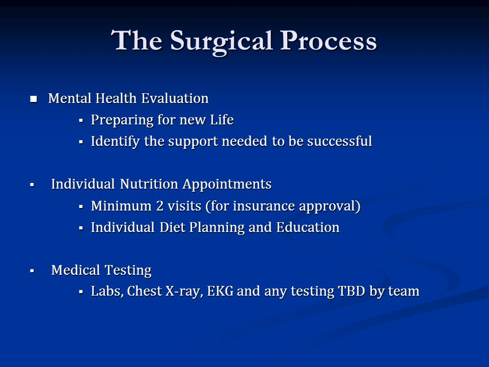 The Surgical Process Mental Health Evaluation Preparing for new Life