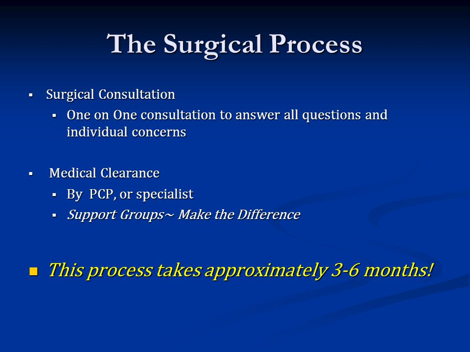 The Surgical Process This process takes approximately 3-6 months!