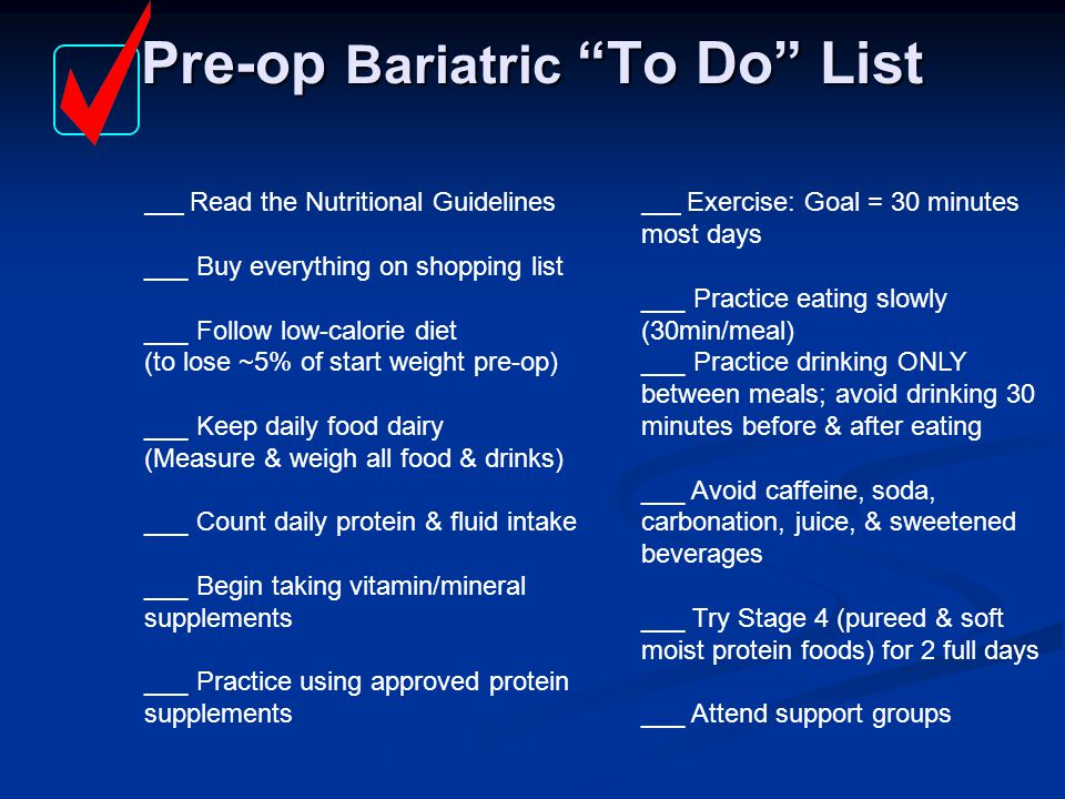 Pre-op Bariatric To Do List