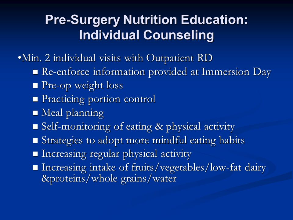 Pre-Surgery Nutrition Education: Individual Counseling