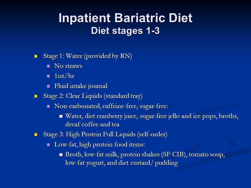 Inpatient Bariatric Diet Diet stages 1-3