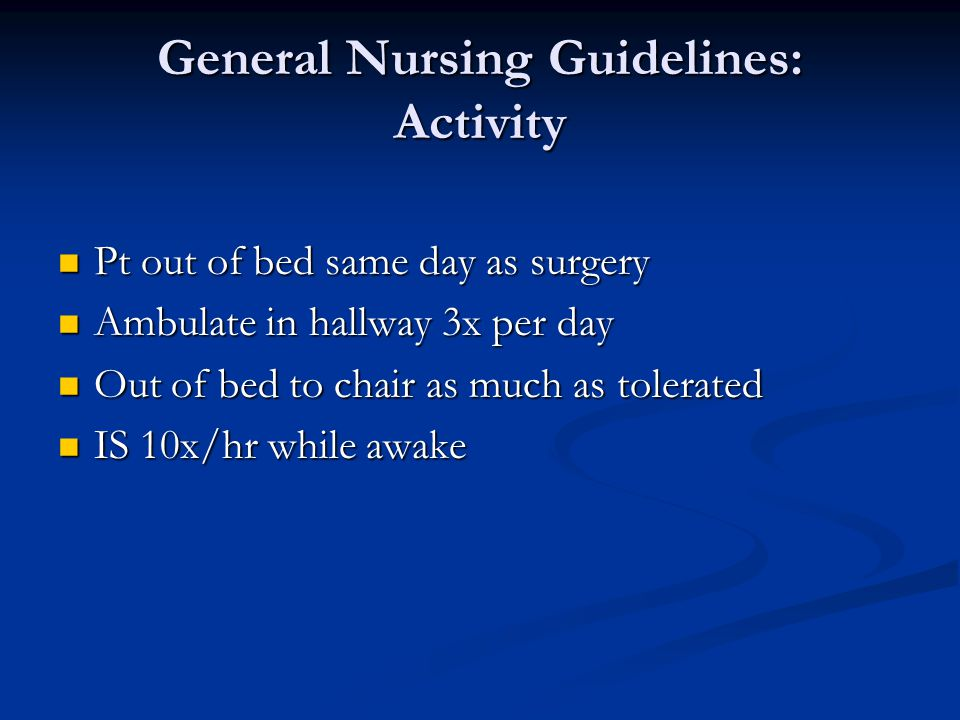 General Nursing Guidelines: Activity