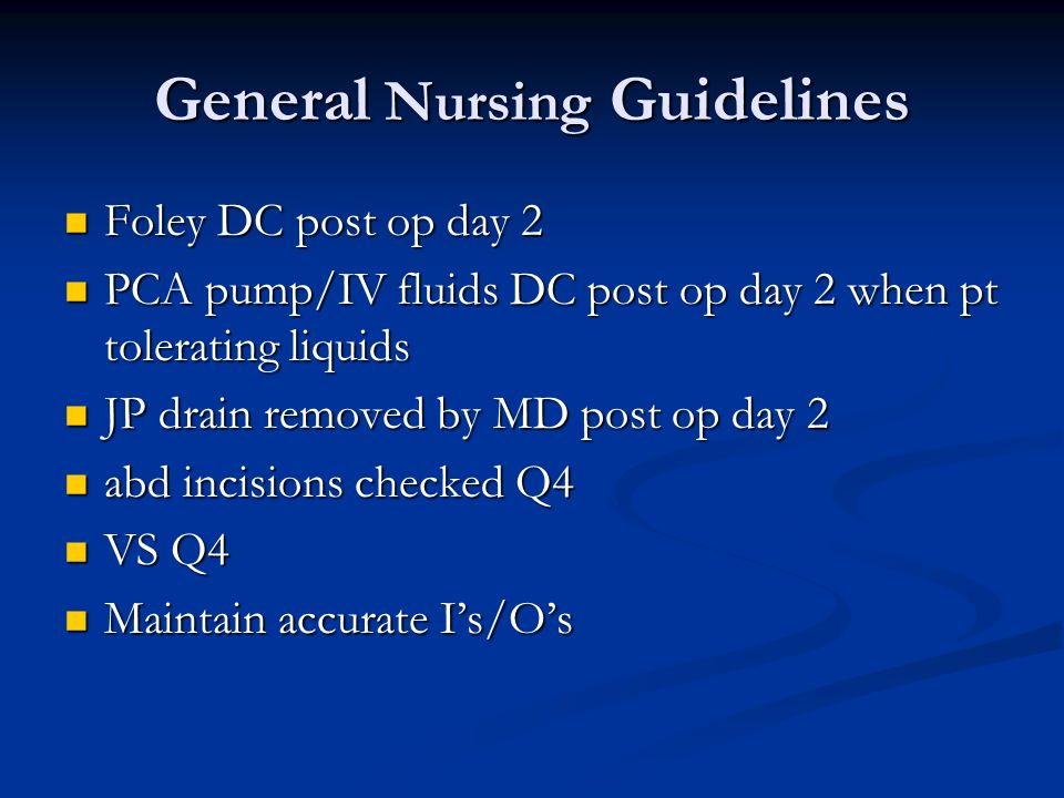 General Nursing Guidelines
