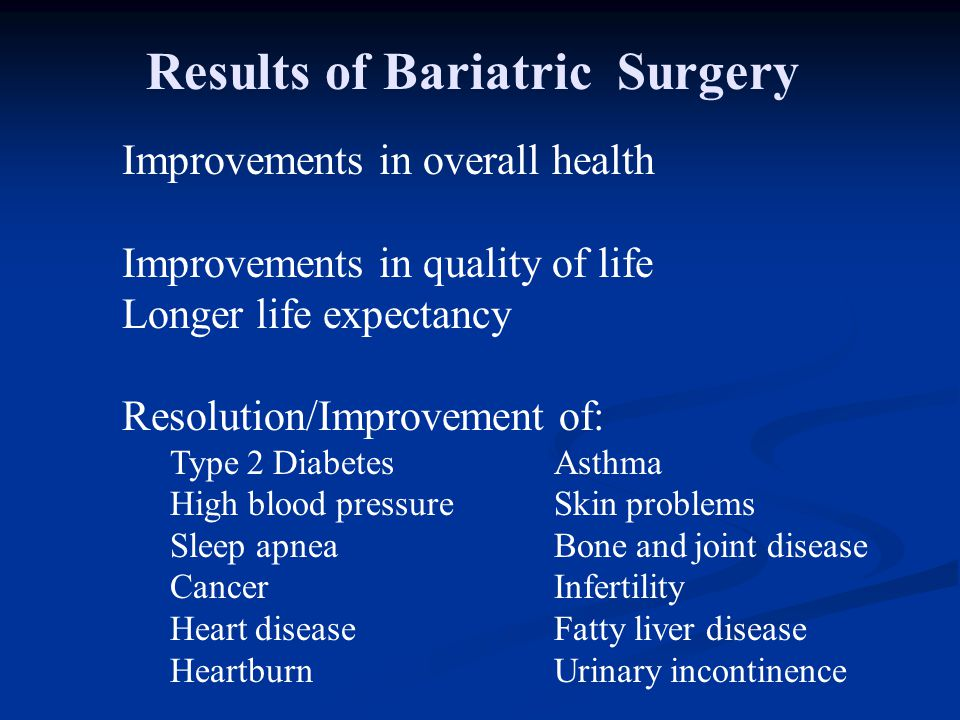 Results of Bariatric Surgery
